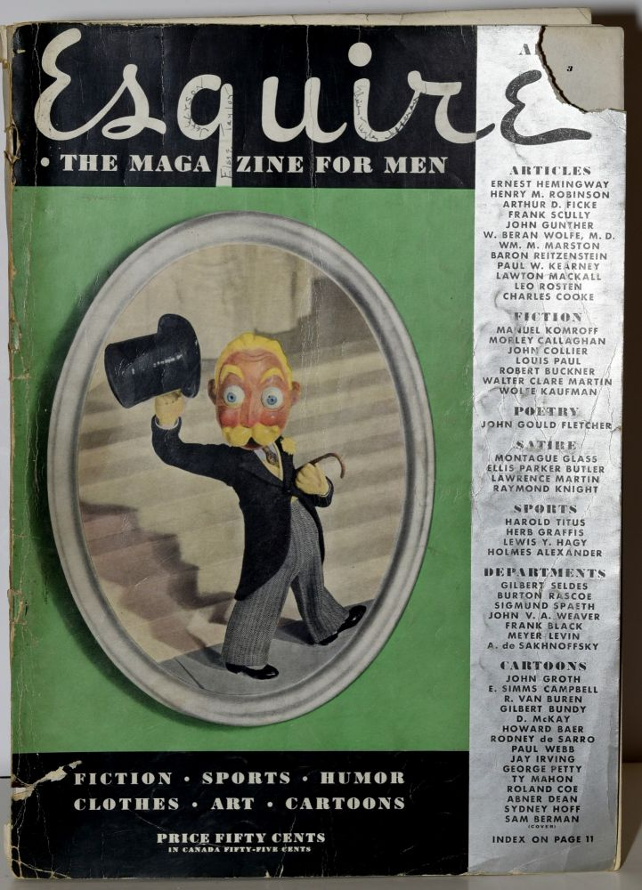 ESQUIRE: The Magazine For Men; April 1935. Henry Morton Robinson Ernest Hemingway, Manuel Komroff, Arnold Gingrich.