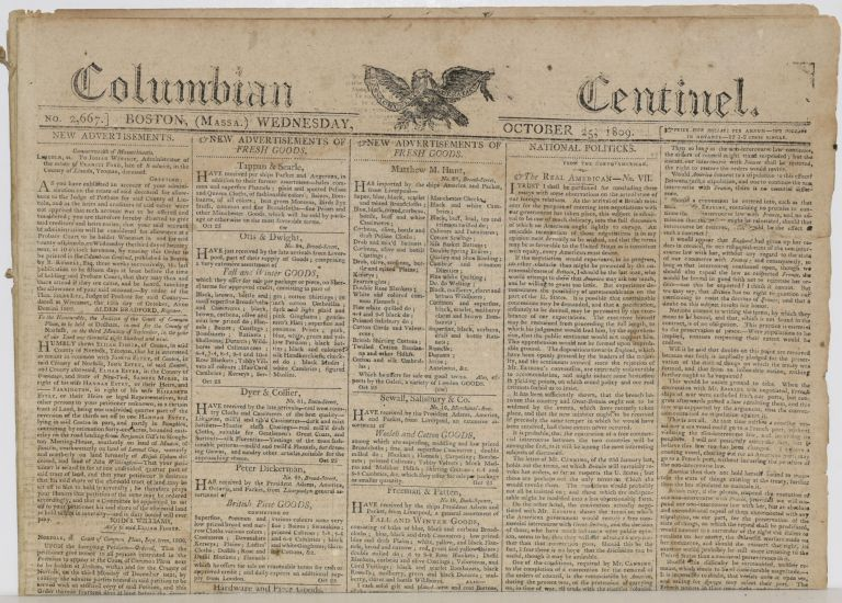 COLUMBIAN CENTINEL (No. 2667; Boston, MA; Wednesday, October 25, 1809)