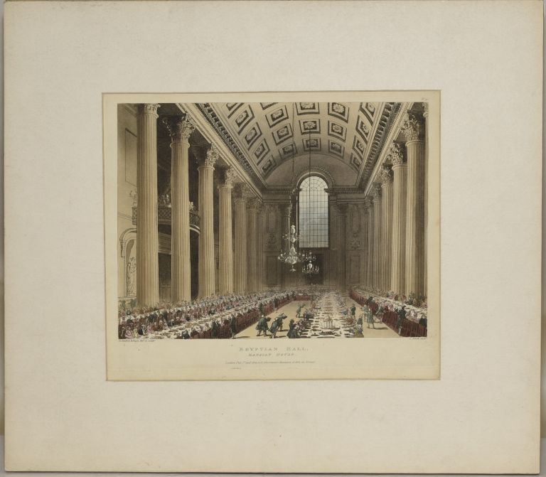 EGYPTIAN HALL. MANSION HOUSE. ORIGINAL HANDCOLORED AQUATINT, 1809. Thomas Rowlandson, Augustus Pugin.
