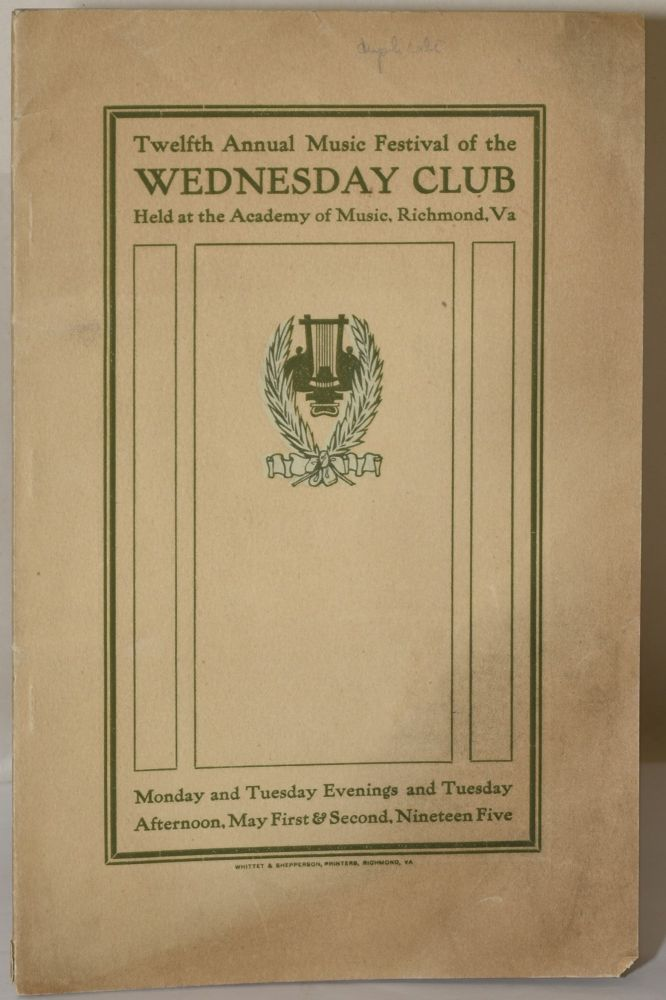 MUSIC FESTIVAL. WEDNESDAY MUSIC CLUB. TWELFTH ANNUAL, 11905