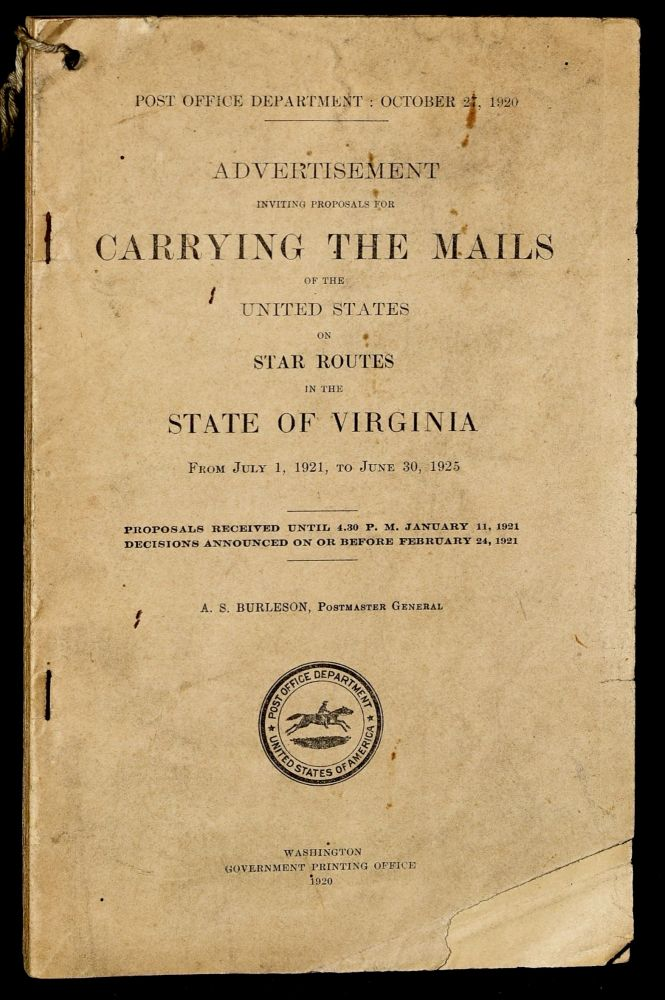 ADVERTISEMENT INVITING PROPOSALS FOR CARRYING THE MAILS OF THE UNITED STATES ON STAR ROUTES IN THE STATE OF VIRGINIA FROM JULY 1, 1921, TO JUNE 30, 1925
