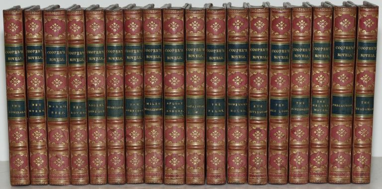 COOPERS NOVELS [18 Volumes; Fine Bindings] TWO ADMIRALS; RED MYERS; MARK'S REEF; RED ROVER; LIONEL LINCOLN; WYANDOTTE; OAK OPENINGS; MILES WILLINGFORD; AFLOAT AND ASHORE; THE PILOT; SATANSTOE; HOMEWARD BOUND; EVE EFFINGHAM; THE SEA LIONS; THE BORDERERS; THE HEIDENMAUER; PRECAUTION; HEADSMAN. J. Fenimore Cooper.