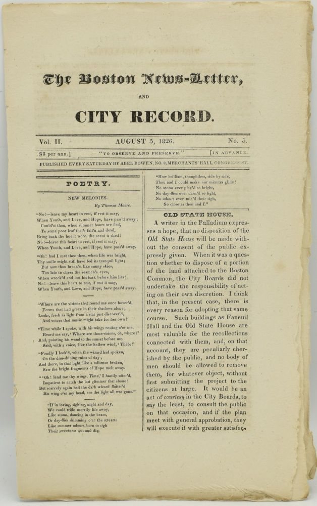 THE BOSTON NEWS-LETTER, AND CITY RECORD. AUGUST 5, 1826. VOL. II. NO. 5. Abel Bowen.