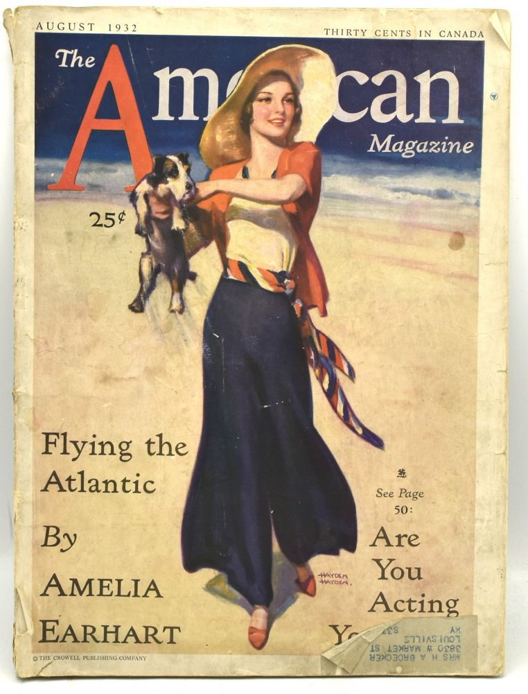 THE AMERICAN MAGAZINE. VOL. 114. NO. 2. FLYING THE ATLANTIC BY AMELIA EARHART. AUGUST 1932. Amelia Earhart.