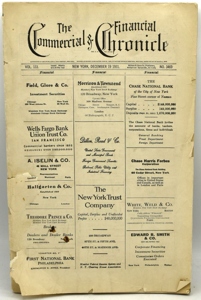 THE COMMERCIAL & FINANCIAL CHRONICLE. VOL. 133. NO. 3469. DECEMBER 29, 1931.