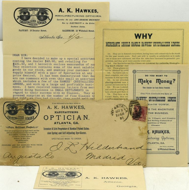 SIX PIECES OF OPTICIAN'S ADVERTISING EPHEMERA FROM A MANUFACTURER OF CRYSTALIZED LENSES.