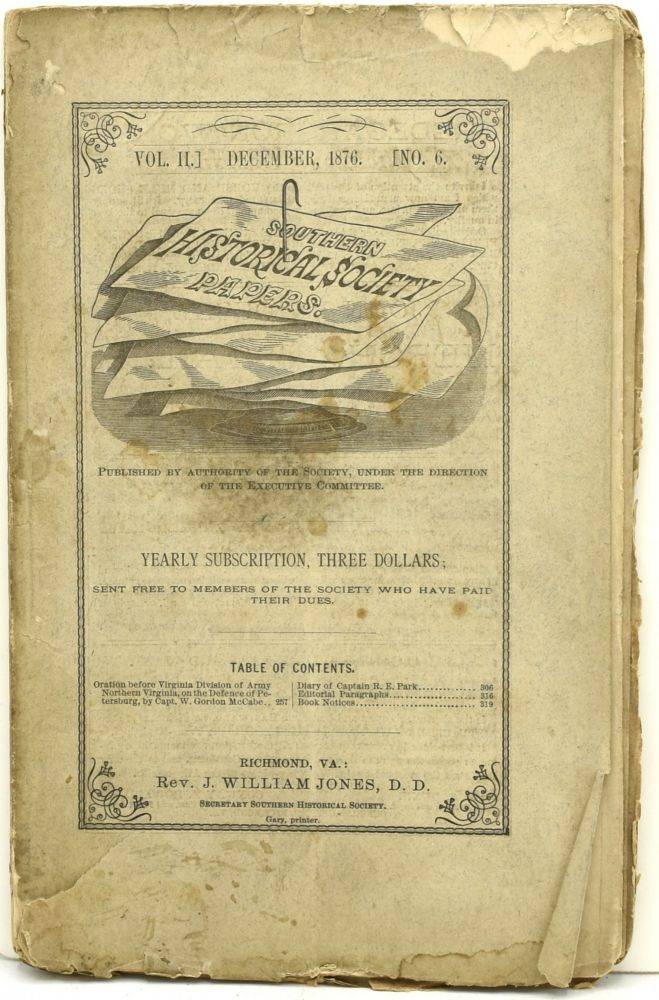 SOUTHERN HISTORICAL SOCIETY PAPERS. VOL. II. NO. 6. DECEMBER, 1876.