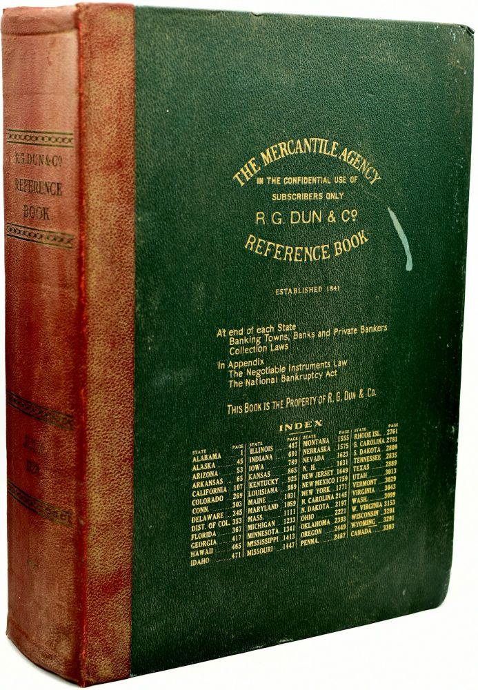 THE MERCANTILE AGENCY REFERENCE BOOK (AND KEY) CONTAINING RATINGS OF MERCHANTS, MANUFACTURERS AND TRADERS GENERALLY THROUGHOUT THE UNITED STATES AND CANADA. COMPLETE MAP AND SKELETON ROUTE MAP OF EACH STATE AND PROVINCE. AT THE END OF EACH STATE WILL BE FOUND A LIST OF BANKS AND BANKERS AND STATE COLLECTION LAWS. THE APPENDIX CONTAINS THE NEGOTIABLE INSTRUMENTS LAW, THE NATIONAL BANKRUPTCY ACT, AND LONG DISTANCE TRAVELERS' ROUTE MAPS. JULY, 1928 - VOL. 241. The Mercantile Agency.