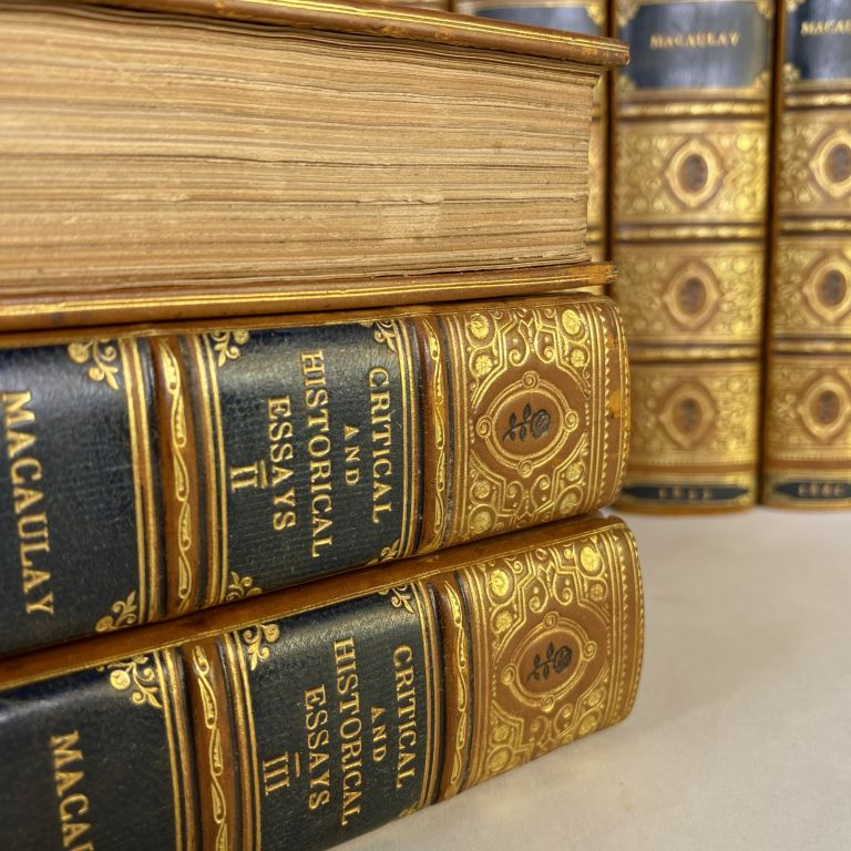 [FINE BINDINGS] THE HISTORY OF ENGLAND FROM THE ACCESSION OF JAMES THE SECOND [5 VOLUMES] [with] CRITICAL AND HISTORICAL ESSAYS CONTRIBUTED TO THE EDINBURGH REVIEW [3 VOLUMES]. Thomas Babington Macaulay |, Zachary Macaulay.