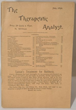 THE THERAPEUTIC ANALYST July 1890. M. D. Edward P. Brewer, Ph D