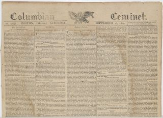 COLUMBIAN CENTINEL (No. 2656; Boston, MA; Saturday September 16, 1809