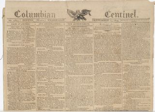 COLUMBIAN CENTINEL (No. 2655; Boston, MA; Wednesday September 13, 1809)