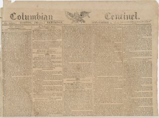 COLUMBIAN CENTINEL (No. 2654; Boston, MA; Saturday September 9, 1809)