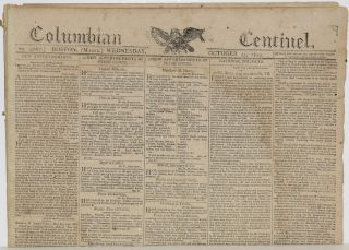 COLUMBIAN CENTINEL (No. 2667; Boston, MA; Wednesday, October 25, 1809