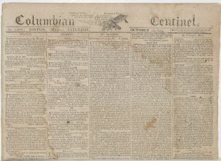 COLUMBIAN CENTINEL (No. 2668; Boston, MA; Saturday, October 28, 1809