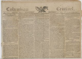 COLUMBIAN CENTINEL (No. 2681; Boston, MA; Wednesday, December 13, 1809