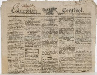 COLUMBIAN CENTINEL (No. 2637; Boston, MA; Wednesday, July 12, 1809