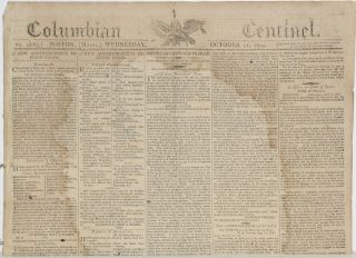 COLUMBIAN CENTINEL (No. 2663; Boston, MA; Wednesday, October 11, 1809