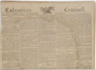 COLUMBIAN CENTINEL (No. 2657; Boston, MA; Wednesday, September 20, 1809
