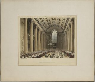 EGYPTIAN HALL. MANSION HOUSE. ORIGINAL HANDCOLORED AQUATINT, 1809. Thomas Rowlandson, Augustus...