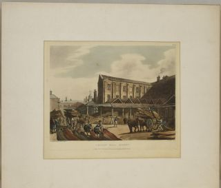 LEADEN HALL MARKET. [LONDON] ORIGINAL HANDCOLORED AQUATINT, 1809. Thomas Rowlandson, Augustus...