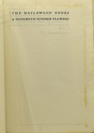 A HUNDRETH SUNDRIE FLOWRES, FROM THE ORIGINAL EDITION