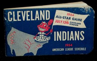 OFFICIAL SCHEDULE OF THE AMERICAN LEAGUE 1954. Cleveland Indians