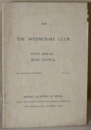 MUSIC FESTIVAL. WEDNESDAY MUSIC CLUB. FIFTH ANNUAL, 1898