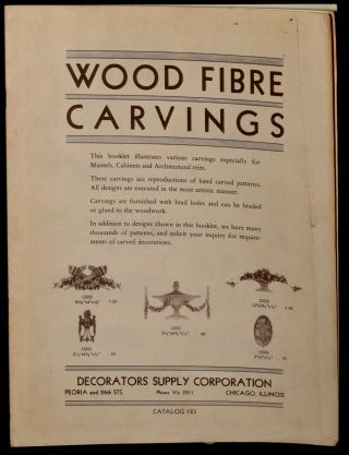 WOOD FIBRE CARVINGS. CATALOG NO. 123. Decorator's Supply Corp