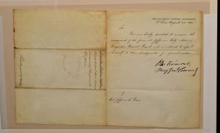 LETTER SUMMONING GEN. GRANT TO ASSUME HIS FIRST FIELD COMMAND. FROM GEN. FREMONT TO COL. JEFFERSON C. DAVIS .