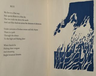 BLUE. THREE POEMS IN AN ENGLISH AND A FRENCH VERSION & THREE DRAWINGS BY THE AUTHOR