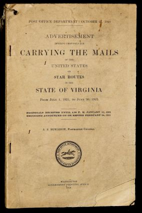 ADVERTISEMENT INVITING PROPOSALS FOR CARRYING THE MAILS OF THE UNITED STATES ON STAR ROUTES IN...