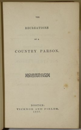 RECREATIONS OF A COUNTRY PARSON (2 Volumes). Andrew K. H. Boyd