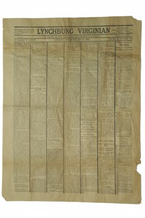 NEWSPAPER] 1910 REPRINT OF THE MAY 13, 1863 ISSUE OF THE LYNCHBURG VIRGINIAN. Charles W. Button