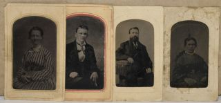 TINTYPES] FOUR TINTYPES OF UNIDENTIFIED PERSONS FROM THREE PETERSBURG PHOTOGRAPHERS. John Bell |...