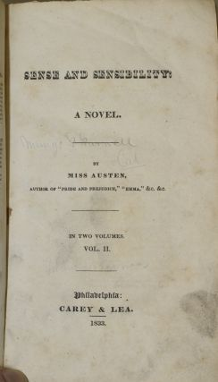 SENSE AND SENSIBILITY. A NOVEL. VOLUME II ONLY of the Two Volume Set