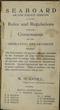 SEABOARD AIR LINE RAILWAY COMPANY. RULES AND REGULATIONS FOR THE GOVERNMENT OF THE OPERATING DEPARTMENT.