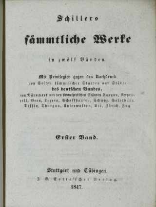 SCHILLERS SÄMMTLICHE WERKE IN ZWOLF BÄNDEN. [SCHILLERS COLLECTED WORKS IN TWELVE VOLUMES] (TWELVE VOLUMES, COMPLETE)