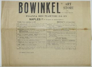 BROADSIDE] BOWINKEL'S ART STORE AND ART EXPORTATION