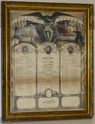 BROADSIDE; FRAMED] THE SOLDIER'S RECORD. 1861