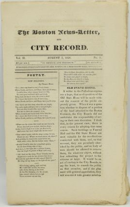 THE BOSTON NEWS-LETTER, AND CITY RECORD. AUGUST 5, 1826. VOL. II. NO. 5. Abel Bowen