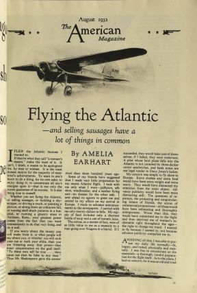 THE AMERICAN MAGAZINE. VOL. 114. NO. 2. FLYING THE ATLANTIC BY AMELIA EARHART. AUGUST 1932.