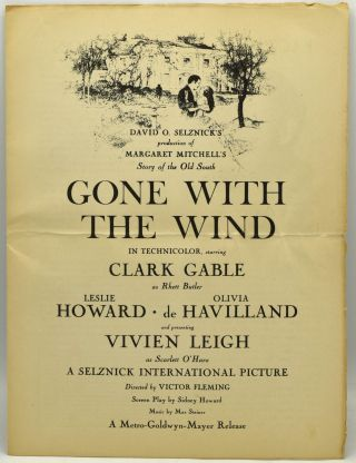 GONE WITH THE WIND. PROMOTIONAL BROCHURE FOR THE MOVIE. WITH FACT SHEET