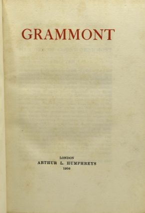 GRAMMONT'S MEMOIRS OF THE COURT OF CHARLES THE SECOND. (THE ROYAL LIBRARY HISTORICAL SERIES)