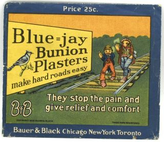 "BLUE=JAY BUNION PLASTERS: ""MAKE HARD ROADS EASY."" THEY STOP THE PAIN AND GIVE RELIEF AND..."