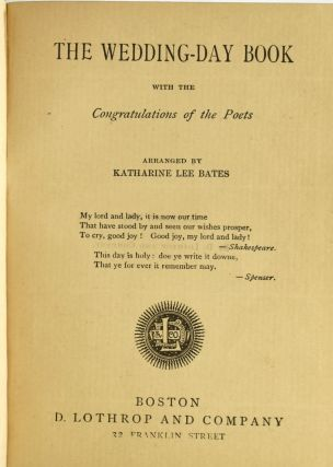 THE WEDDING-DAY BOOK. WITH THE CONGRATULATIONS OF THE POETS.