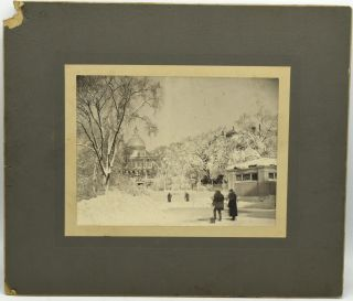 BOSTON. STATE HOUSE AND PARK STREET STOP. BLIZZARD FEBRUARY 1898