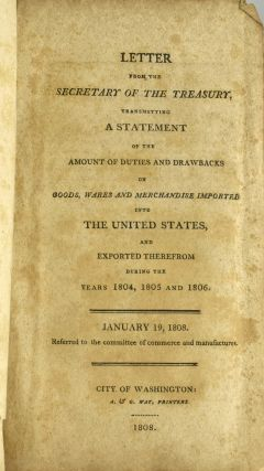 SAMMELBAND 49 SENATE REPORTS FROM 1807-08, WITH 4 ON BURR-WILKINSON CONSPIRACY