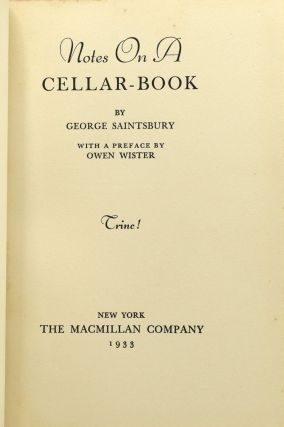 [ WINES & SPIRITS] NOTES ON A CELLAR-BOOK.