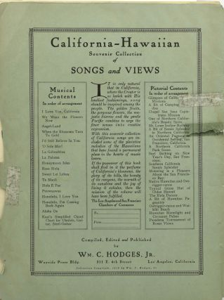 CALIFORNIA - HAWAIIAN SOUVENIR COLLECTION OF SONGS AND VIEWS.